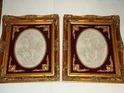 Magnificent Pair Of Framed Estate Bisque Portraits W/ Children With Red Velvet