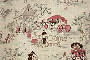 Vintage Nursery Fabric Childrens Room Decor French Printed Cotton Curtain Faded