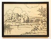 Vintage Sampler Hand Stitched Embroidery The Old Mill With Bridge Toronto Canada