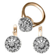 14k Solid Rose And White Gold Genuine Diamond Ring And Earrings Russian Style Set