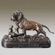 West Art Deco Sculpture Three Lions Hunting Bronze Marble Animal Statue