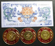 Bhutan 1 Ngultrum Note And Round Postage Stamp 3pcs Unc+free 1 B.note D3175