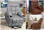 Power Lift Recliner Elderly Massage Heated Vibration Fabric Pockets Usb Remote