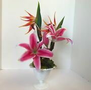 Decorative Planter With Pink And White Lilys Orange Dragon Flowers Milk Glass