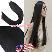 Tape In Skin Weft Brazilian Virgin Remy Human Hair Extensions 1b Natural Black
