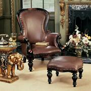 Design Toscano Victorian Rococo Faux Leather Wing Chair And Ottoman
