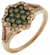 .64ct White And Chocolate Fancy Diamond 14kt Rose Gold 3d Cluster Flower Star Ring