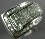 Large 1.75ct Diamond 14kt White Gold 3d Princess And Baguette Invisible Belt Ring