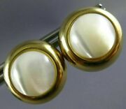 Estate Large 14kt Yellow Gold Aaa Moon Stone Circular Clip On Earrings 24401