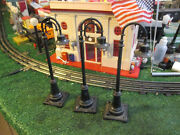 Lionel Pre War 3 Goose Neck Lamp Posts 59 All Work Good Cond Repainted Black