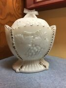 Antique Painted Westmoreland Milk Glass Grape And Cherry Covered Sugar Bowl