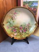 Hand Painted Artist Signed Richard Ginori Italy Pink Flowers And Gold Shallow Bowl