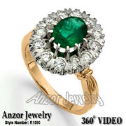 14k Rose And White Gold Genuine Emerald And Diamond Russian Style Ring R1590