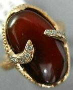 Estate Large .09ct Diamond And Aaa Red Agate 14kt Rose Gold 3d Oval Snake Fun Ring