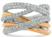 Estate Large 1.22ct Diamond 14kt White And Rose Gold 3d Multi Row Criss Cross Ring
