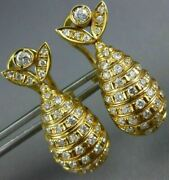 Estate Large 1.26ct Diamond 18kt Yellow Gold 3d Lucky Fish Hanging Earrings