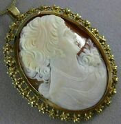 Antique Extra Large 18kt Yellow Gold Handcrafted Filigree Lady Cameo Pin Pendant