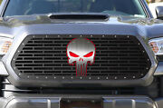 Steel Aftermarket Grille For 16-17 Toyota Tacoma Grill Red + Stainless Skull