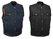 Snap Denim Vest Motorcycle Biker No Back Seam For Patches Concealed Carry M-12x
