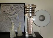 Time Travel Saturn Shade And Lucite Vintage Art Deco Machine Age Lamp