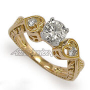 Round Diamond Engagement Ring In 18k Solid Rose Gold Ring Sizes 4 To 9.5 R1562