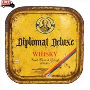 Indian Beer Asian Antiques Tin Old Serving Trays Diplomat Deluxe Whisky 233