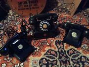 Three Antique Phones One Elektriskand Two Bell Western Electric