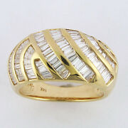 2.00cts Dome Diamond Bagette Ring In 14kt Yellow Gold