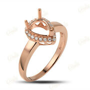 6x8mm Pear Solid 18k Gold 0.16ct Brilliant Cut Diamond Engagement Ring Setting