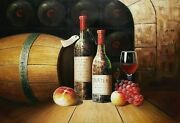 Wine Cellar Still Life - 6 24x36 100 Hand Painted Oil Painting On Canvas