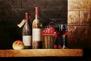 Wine Cellar Still Life - 7 24x36 100 Hand Painted Oil Painting On Canvas