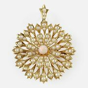 Antique Edwardian 15ct Gold Opal Cabochon Seed Pearl Pendant And Brooch