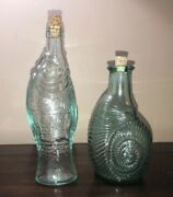 Green Tint Glass Sea Life Bottles With Corks Conch Fish Set Of 2