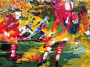 Leroy Neiman Scramble Football Game Hand Signed/ Serigraph Rugged Players