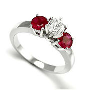100 Genuine Ruby And Diamond Engagement Ring 14k W/ Gold Sizes 4 To 9.5 R785.