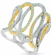 Estate Wide .98ct Diamond 18kt White And Yellow Gold 3d Open Oval Love Knot Ring