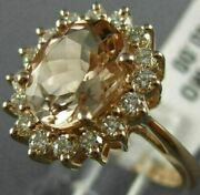 Estate Large 3.25ct Diamond And Aaa Morganite 14kt Rose Gold Oval Engagement Ring
