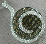 Estate 1.05ct White And Chocolate Fancy Diamond 14kt White Gold 3d Cluster Pendant