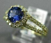 Estate 1.13ct Diamond And Aaa Tanzanite 14k Yellow Gold 3d Classic Engagement Ring