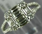 .87ct Diamond 18k White Gold 3d Round And Baguette Cluster Square Anniversary Ring