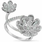 Estate Large .92ct Round Diamond 18kt White Gold Classic Double Flower Love Ring