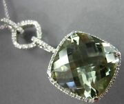 Estate Large 12.74ct Diamond And Aaa Green Amethyst 14kt White Gold Halo Pendant