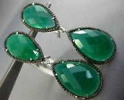 Estate Large 40.35ct Black Diamond And Green Agate 14k White Gold Clip On Earrings