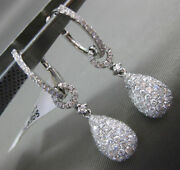 Estate Large 1.77ct Diamond 14kt White Gold 3d Pave Tear Drop Hanging Earrings