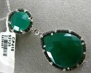 Estate Large 22.15ct White And Black Diamond And Green Agate 14kt White Gold Pendant