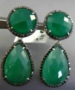 Estate Large 30.20ct Black Diamond And Green Agate 14k White Gold Clip On Earrings