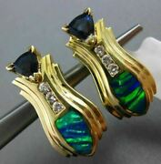 Estate Large 3.16ct Diamond Aaa Sapphire And Opal 14k Yellow Gold Clip On Earrings