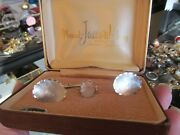 Vtg Hand Engraved Sterling Silver Cuff Links And Tie Tack Set Mermod Jaccard King