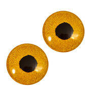 30mm Gold Glitter Glass Eyes Taxidermy Art Doll Sculptures Jewelry Making Supply