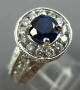 Wide 1.85ct Diamond And Sapphire 14kt White Gold 3d Halo Filigree Engagement Ring